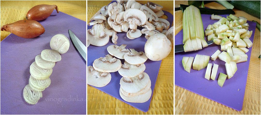 нарезать лук грибы цуккини