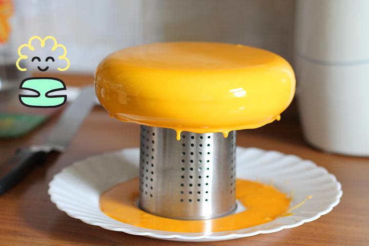 жёлтый торт с глазурью
